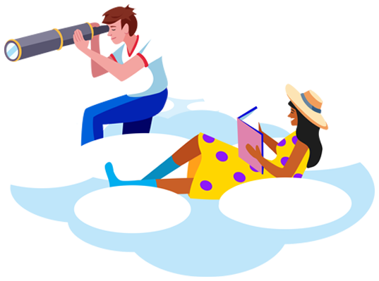 Boy with Telescope abd Girl Reading a book on a cloud