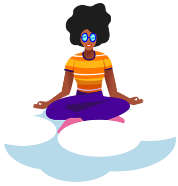 Zen Yoga Queen floating on a cloud